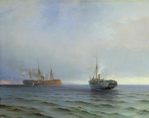Захват пароходом Россия турецкого военного транспорта Мессина на Чёрном море 13 декабря 1877 года - 1877 год
